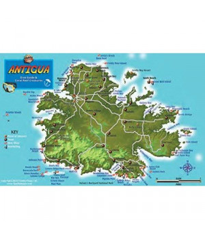 Antigua Dive Map & Coral Reef Creatures Guide Franko Maps Laminated Fish Card